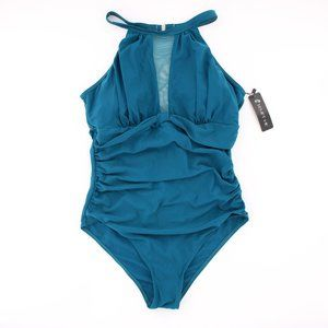 NWT Teal Blue Halter One Piece Plunging Mesh M